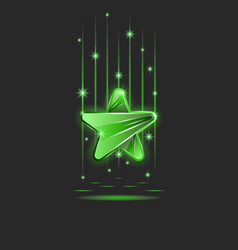 a bright sparkling plastic or glass green star in vector image