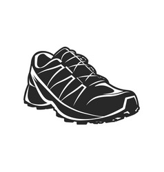 Athletic sport shoe black and white vector