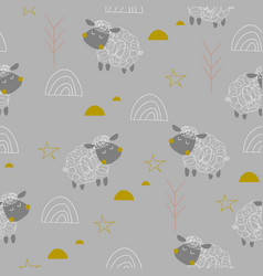 baby sheeps seamless pattern vector image