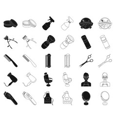 barbershop and equipment blackoutline icons in vector image