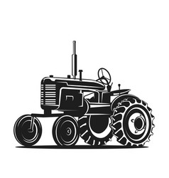 Black old tractor silhouette on white background vector
