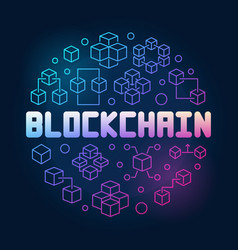 blockchain technology round colored line vector image