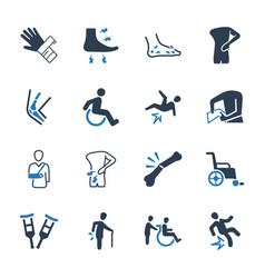 Bone fracture icons vector