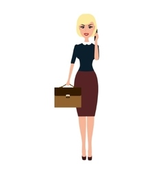 Business woman with a briefcase talking on vector image
