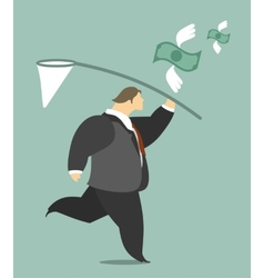 Businessman Catching a Butterfly Net Money vector image