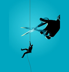 businessman climbing on rope being cut with vector image