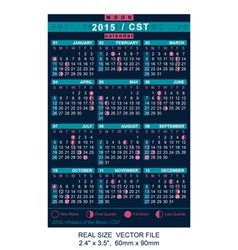 Calendar 2015 with Phases of the moon CST vector