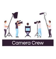 Camera crew flat set director sitting in chair vector