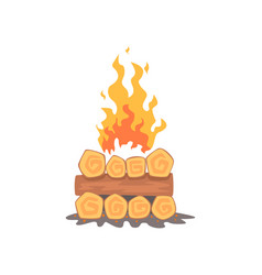 Campfire logs burning bonfire and firewood stack vector