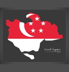 Central singapore map with national flag vector