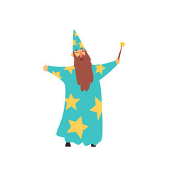 Cheerful man with long beard in blue wizard vector