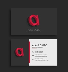Clean dark business card with letter A vector