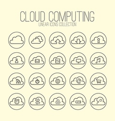 Cloud Computing Linear Icons Collection vector