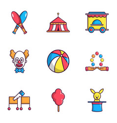 clown show on birthday icons set flat style vector image