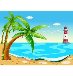 Coconut trees at the beach vector