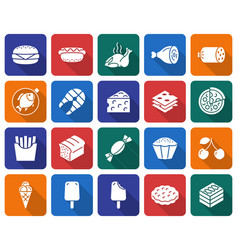 collection of rounded square icons food vector image