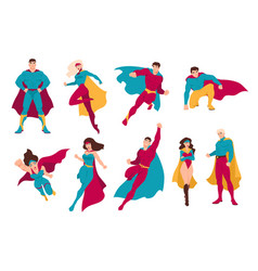 Collection of superheroes bundle of men and women vector