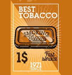 Color vintage tobacco shop banner vector
