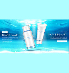 cosmetics bottles mockup on underwater surface vector image