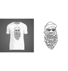 Creative t-shirt design with of santa vector