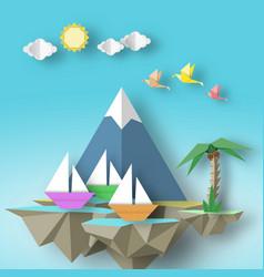 Cut birds yacht mountain palm and fly island vector