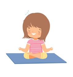 Cute girl meditating in lotus position adorable vector