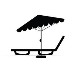 Deckchair with umbrella relax in black vector