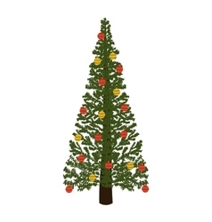 decorated green christmas tree with trunk vector image