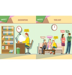 Digital company accounting and time out vector
