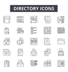 directory line icons signs set outline vector image