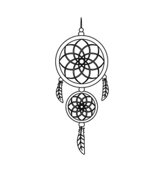 Dreamcatcher icon in outline style isolated on vector image