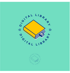 ebook logo book store digital library vector image