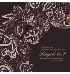 Elegant card with Indian paisley pattern vector