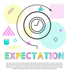 expectation banner with clock isolated on white vector image
