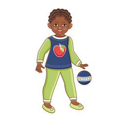flat african black boy playing with ball vector image