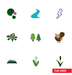 Flat icon natural set of lightning forest berry vector