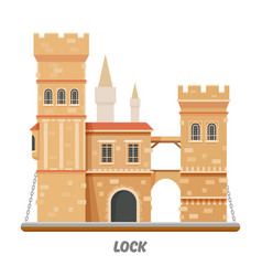 fortress lock castle fort towers with drawbridge vector image