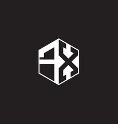 Fx logo monogram hexagon with black background vector