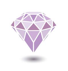 Geometrical purple diamond with shadow isolated vector