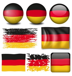 Germany flag on different items vector image