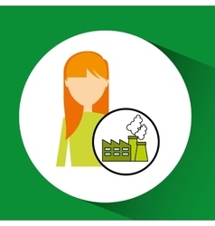 Girl concept ecological factory vector