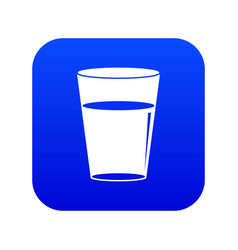 glass water icon digital blue vector image