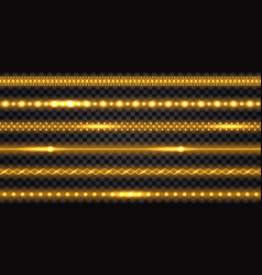 Golden led strips and garlands with neon glowing vector