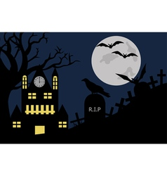 halloween a house in cemetery vector image