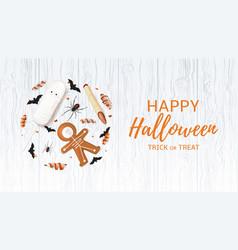 halloween festive web banner with treats vector image