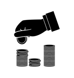 Hand with coins vector