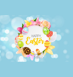 happy easter cute background with eggs eps10 vector image