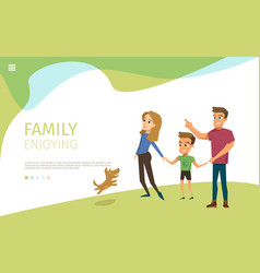 Happy family walk in park flat web banner vector