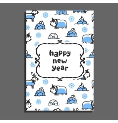 Happy new year card template with cute cartoon vector