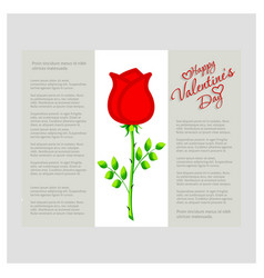 happy valentines day card with rose vector image